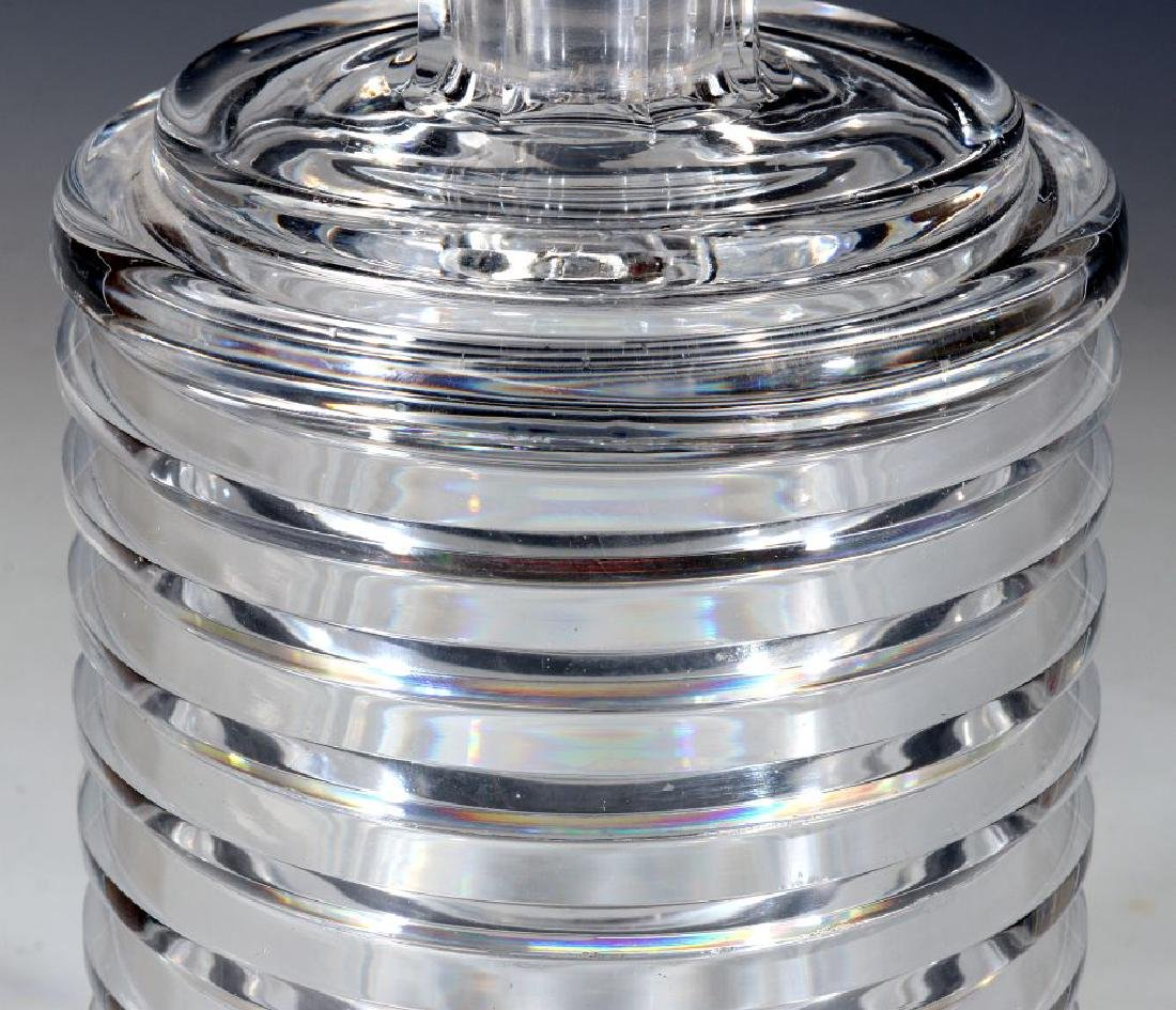 A CUT AND POLISHED CRYSTAL ART DECO BOTTLE - 4