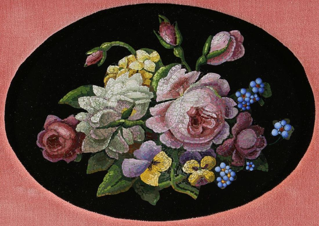 A SMALL 19TH CENT GRAND TOUR MICROMOSAIC PLAQUE