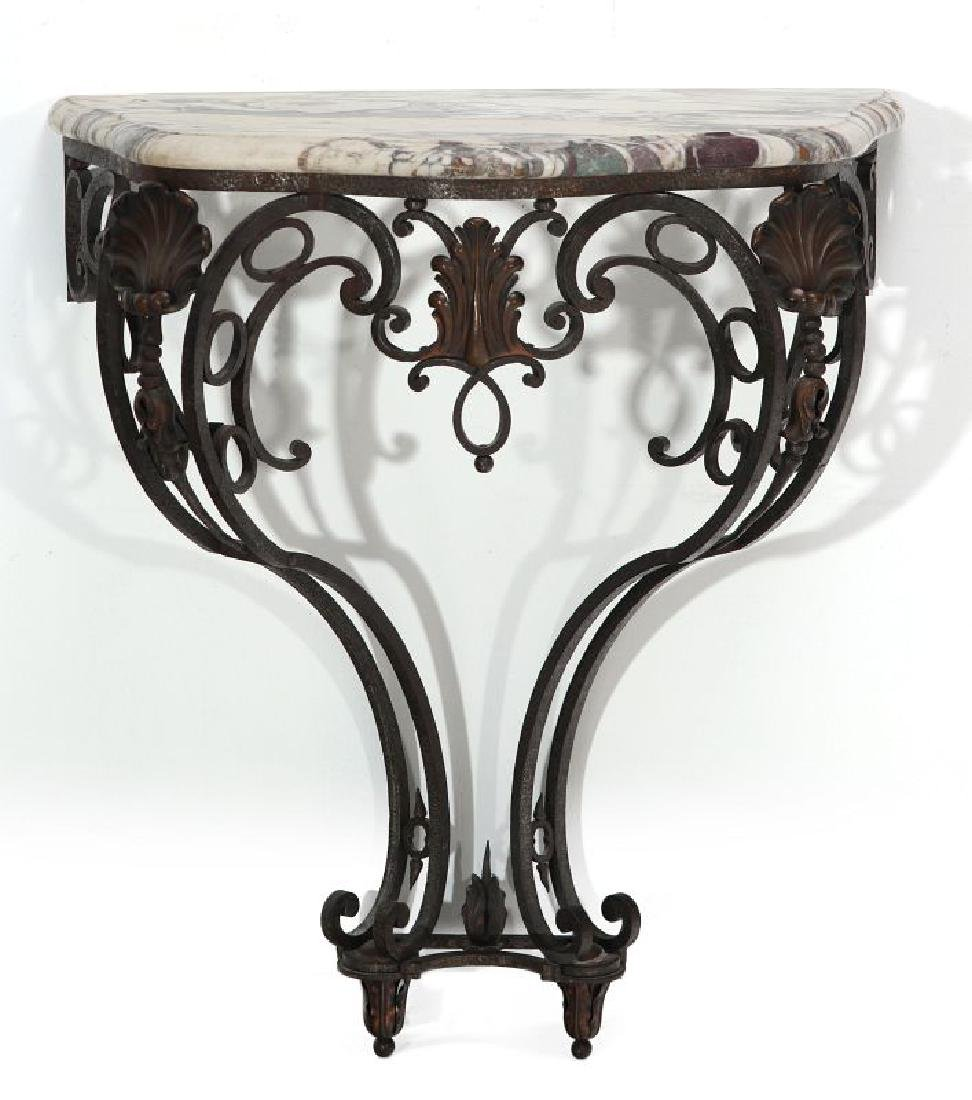 MARBLE TOP IRON CONSOLE CIRCA EARLY 20TH CENTURY