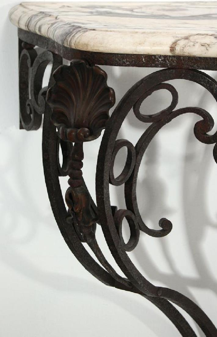 MARBLE TOP IRON CONSOLE CIRCA EARLY 20TH CENTURY - 2