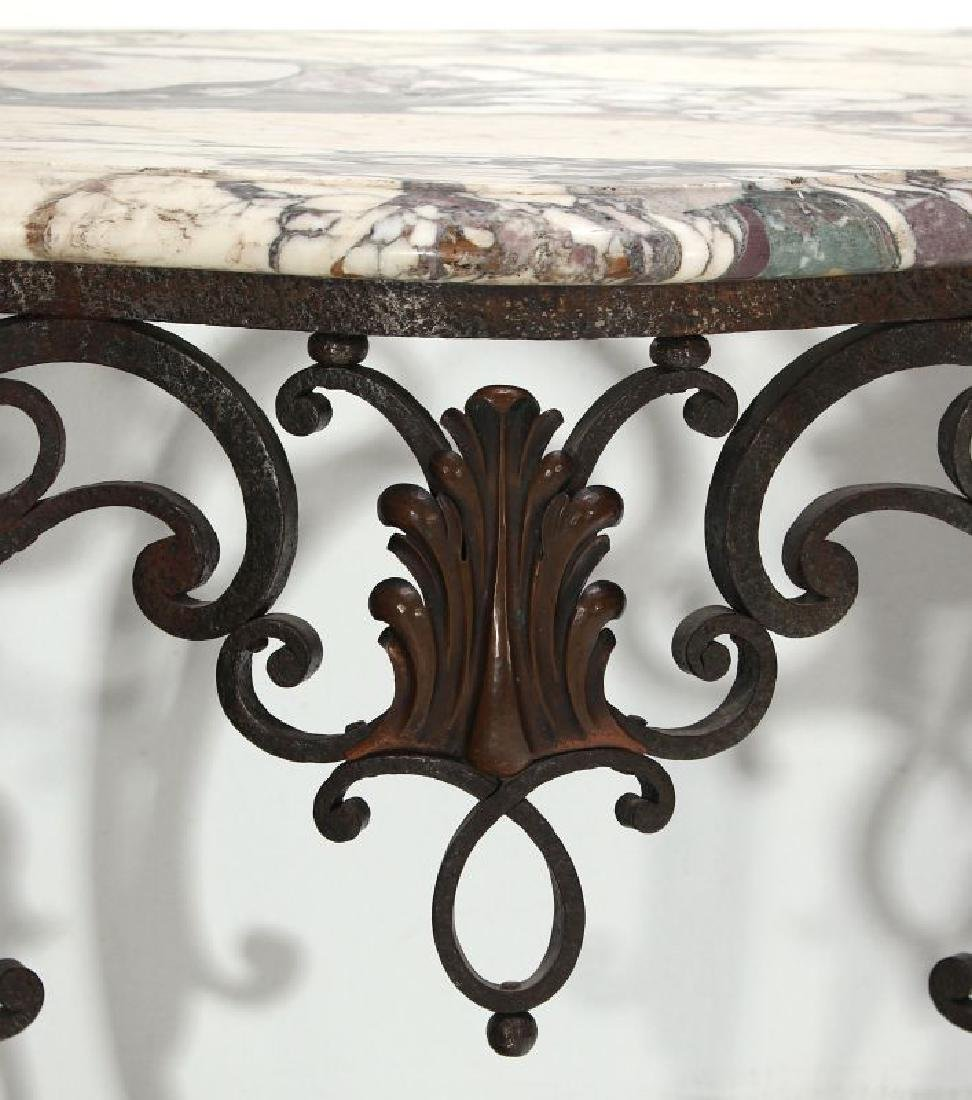 MARBLE TOP IRON CONSOLE CIRCA EARLY 20TH CENTURY - 3