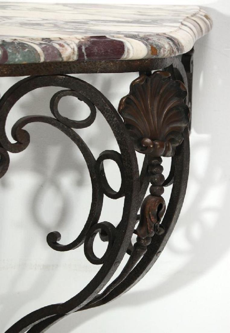 MARBLE TOP IRON CONSOLE CIRCA EARLY 20TH CENTURY - 4