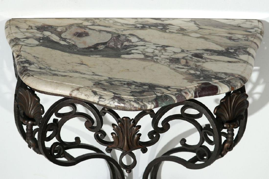 MARBLE TOP IRON CONSOLE CIRCA EARLY 20TH CENTURY - 6