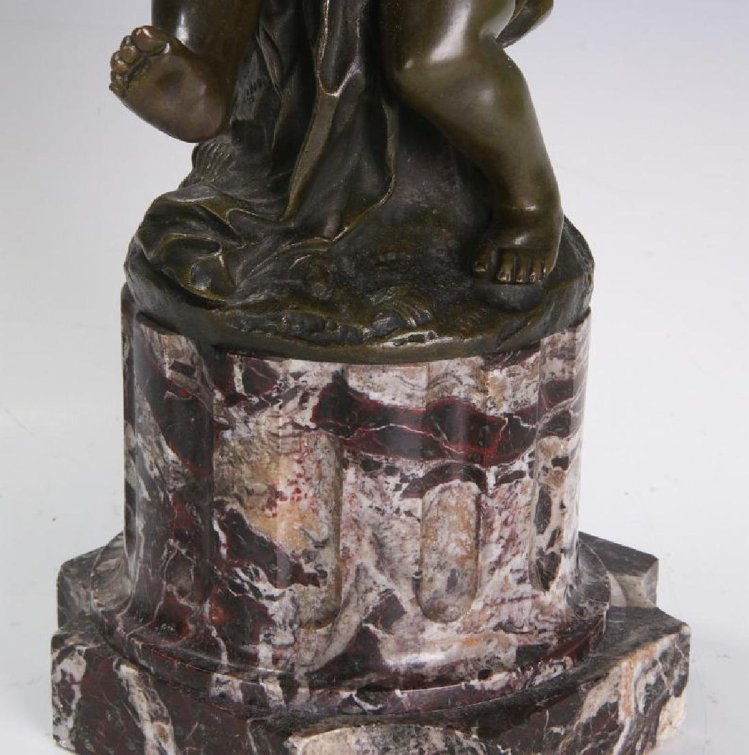 A FINE 19TH C FRENCH BRONZE PUTTO ON MARBLE COLUMN - 10