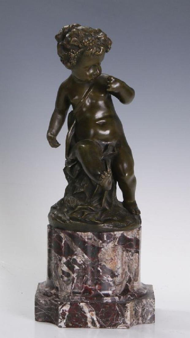 A FINE 19TH C FRENCH BRONZE PUTTO ON MARBLE COLUMN - 3