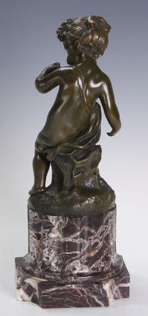 A FINE 19TH C FRENCH BRONZE PUTTO ON MARBLE COLUMN - 5