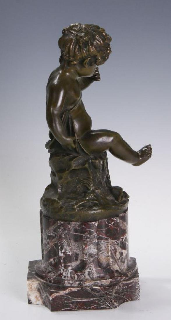 A FINE 19TH C FRENCH BRONZE PUTTO ON MARBLE COLUMN - 6