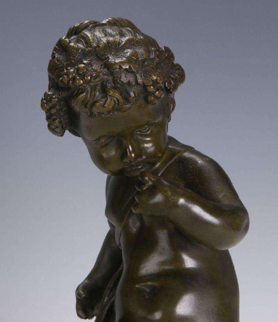 A FINE 19TH C FRENCH BRONZE PUTTO ON MARBLE COLUMN - 8