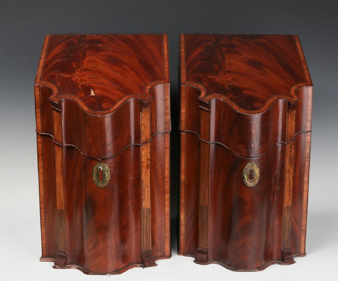 A PAIR CIRCA 1800 HEPPLEWHITE MAHOGANY KNIFE BOXES