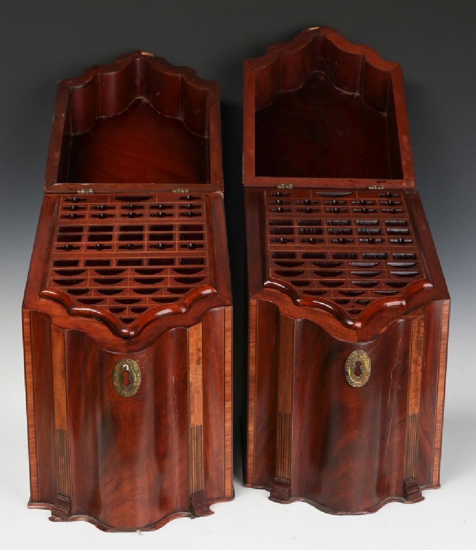 A PAIR CIRCA 1800 HEPPLEWHITE MAHOGANY KNIFE BOXES - 2