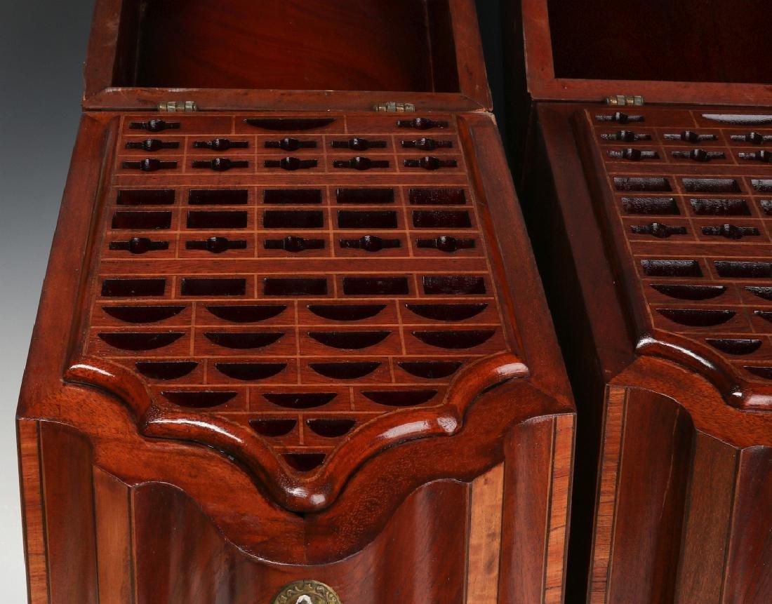 A PAIR CIRCA 1800 HEPPLEWHITE MAHOGANY KNIFE BOXES - 3