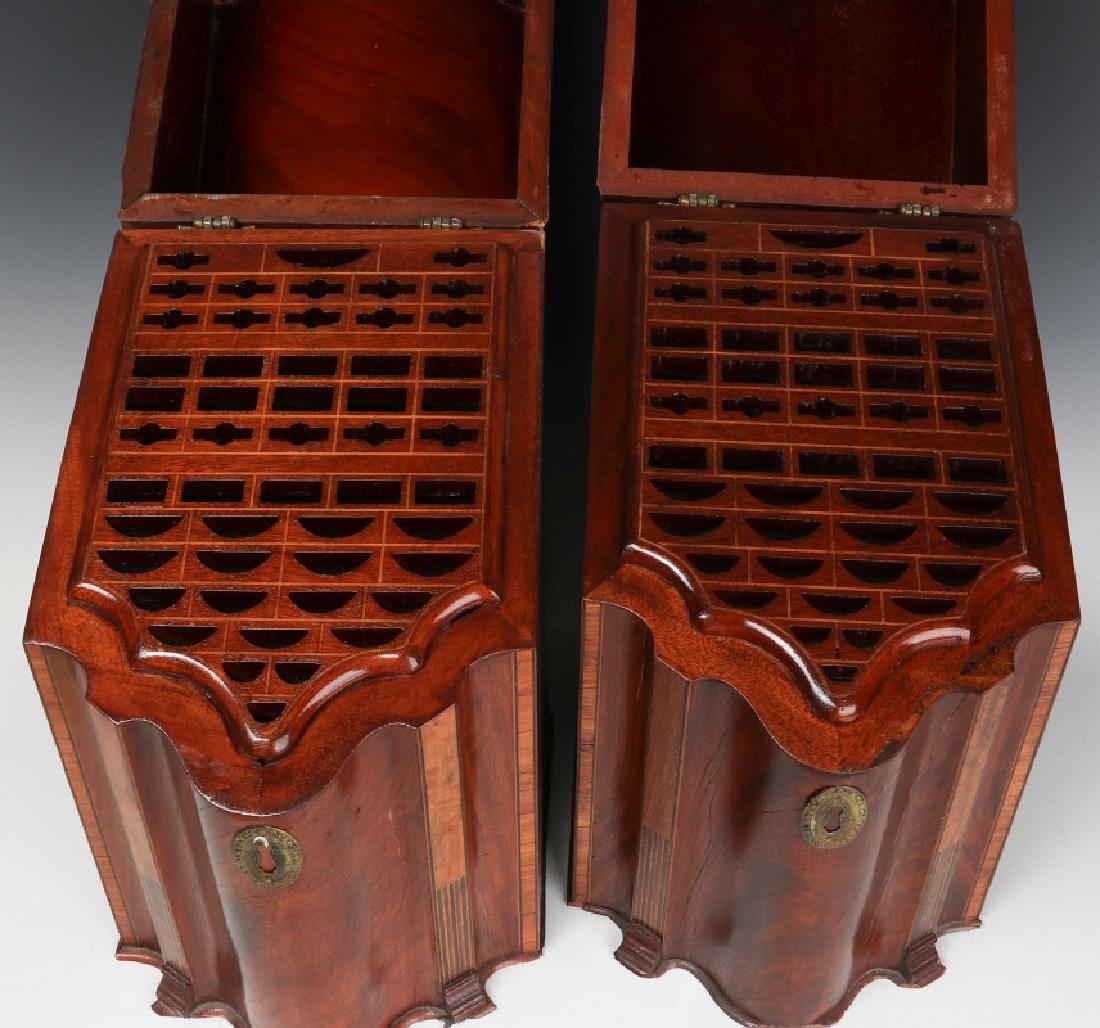 A PAIR CIRCA 1800 HEPPLEWHITE MAHOGANY KNIFE BOXES - 4