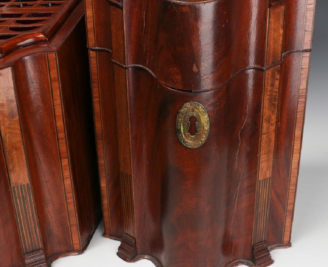 A PAIR CIRCA 1800 HEPPLEWHITE MAHOGANY KNIFE BOXES - 5