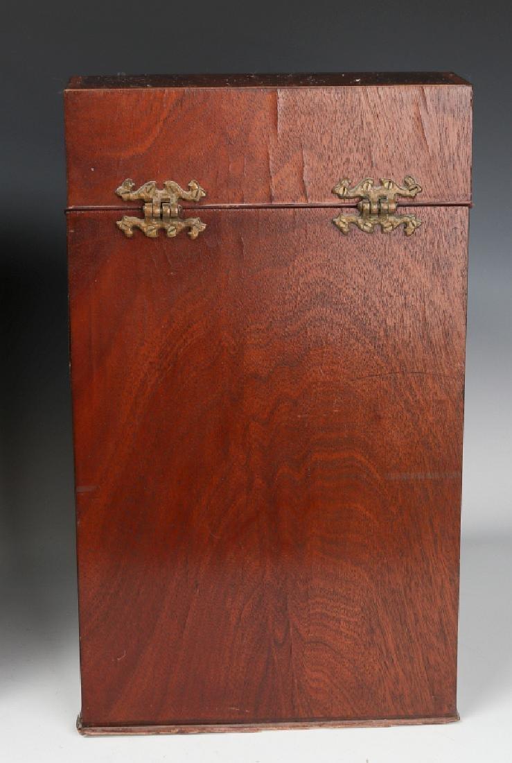 A PAIR CIRCA 1800 HEPPLEWHITE MAHOGANY KNIFE BOXES - 7