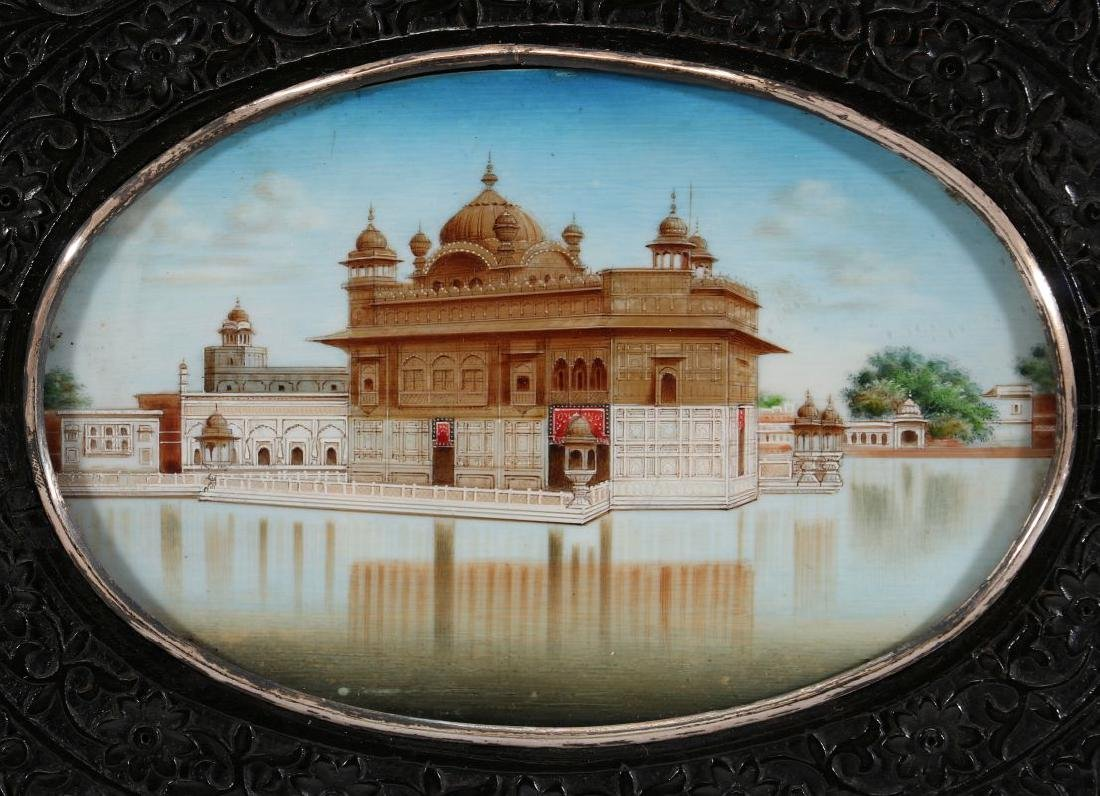 A GOUACHE MINIATURE OF GOLDEN TEMPLE AT AMRITSAR