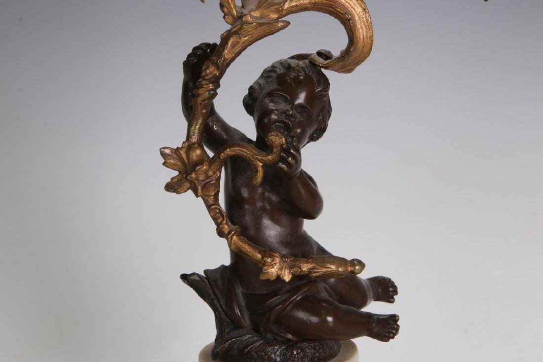 A PAIR 19TH CENT FRENCH BRONZE LAMPS WITH PUTTO - 3