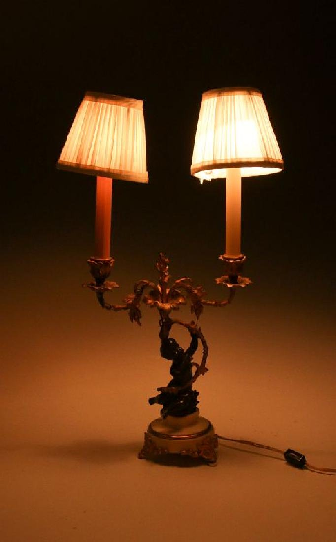 A PAIR 19TH CENT FRENCH BRONZE LAMPS WITH PUTTO - 5