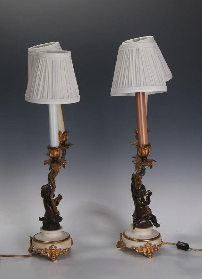 A PAIR 19TH CENT FRENCH BRONZE LAMPS WITH PUTTO - 6