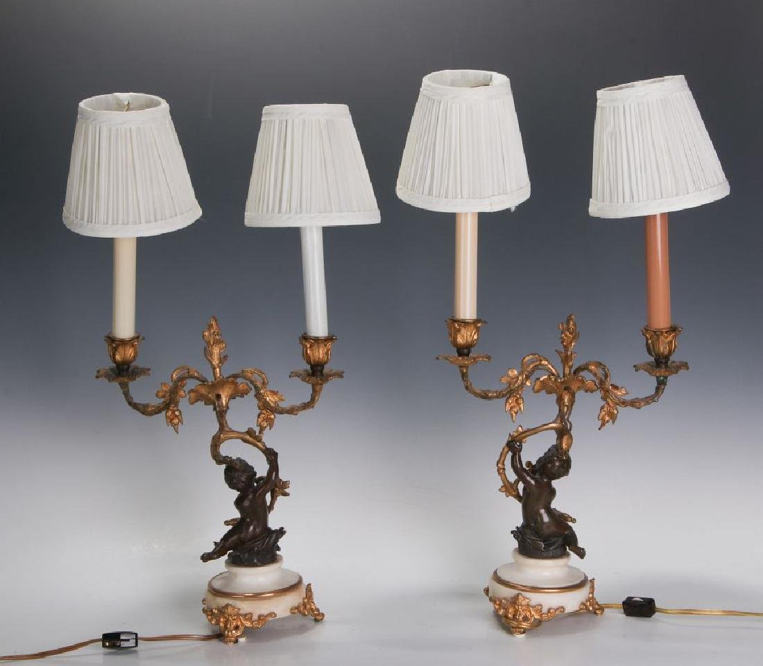 A PAIR 19TH CENT FRENCH BRONZE LAMPS WITH PUTTO - 7