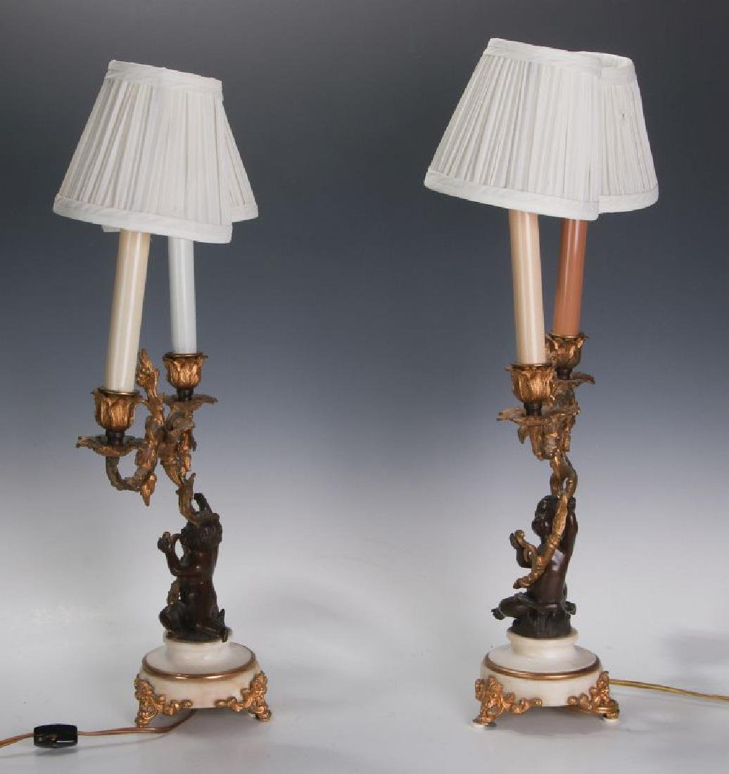 A PAIR 19TH CENT FRENCH BRONZE LAMPS WITH PUTTO - 8