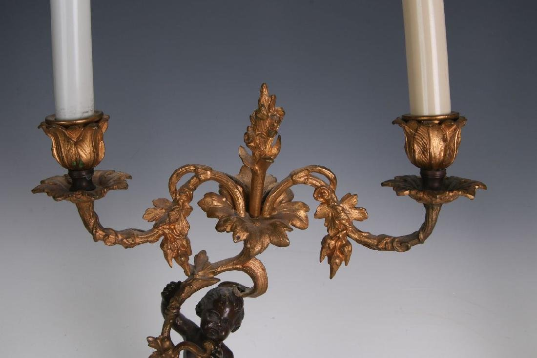 A PAIR 19TH CENT FRENCH BRONZE LAMPS WITH PUTTO - 9
