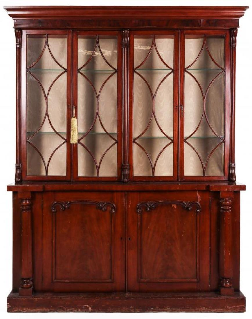 A 19TH CENTURY CONTINENTAL MAHOGANY BREAKFRONT