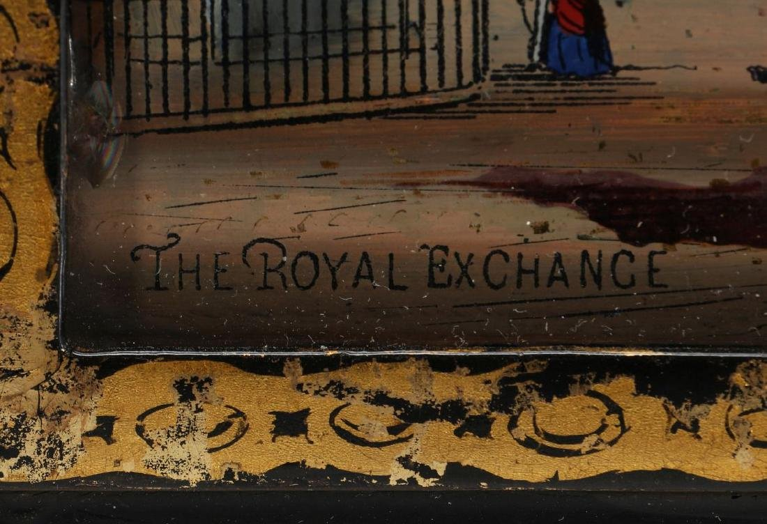 A 19TH C. REVERSE ON GLASS IMAGE OF ROYAL EXCHANGE - 12
