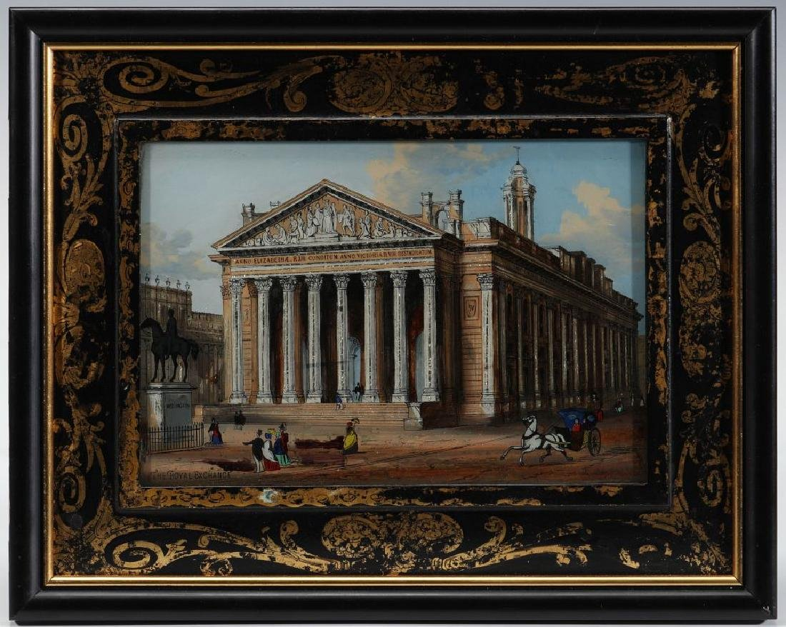 A 19TH C. REVERSE ON GLASS IMAGE OF ROYAL EXCHANGE - 2