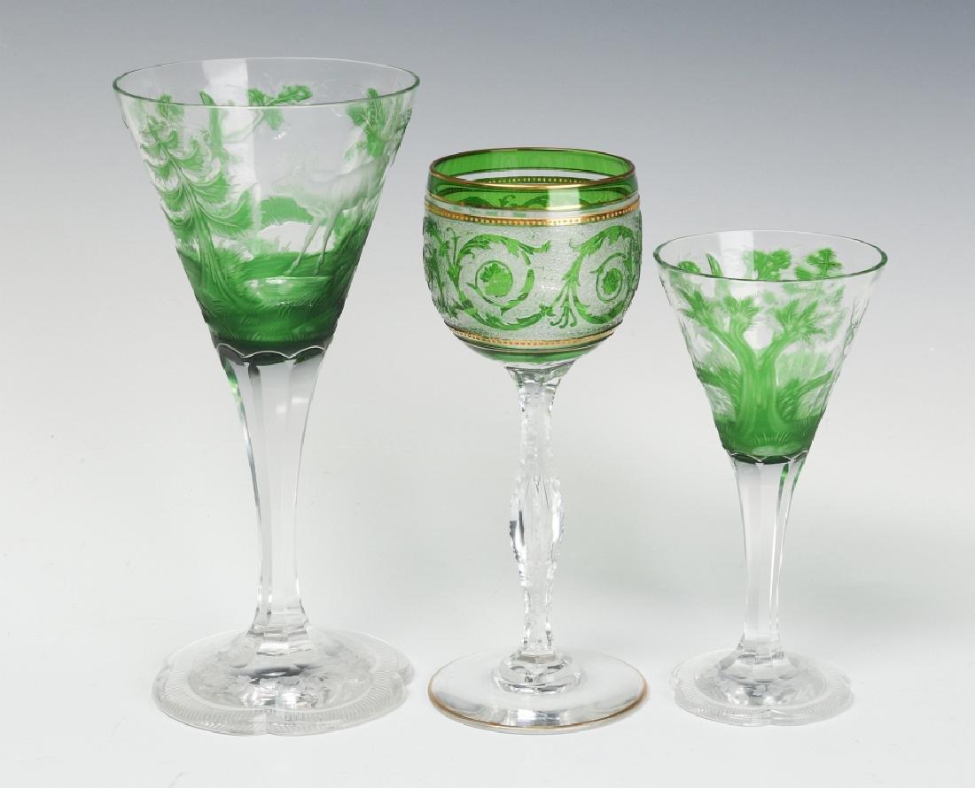THREE UNUSUAL CONTINENTAL ART GLASS WINE GOBLETS