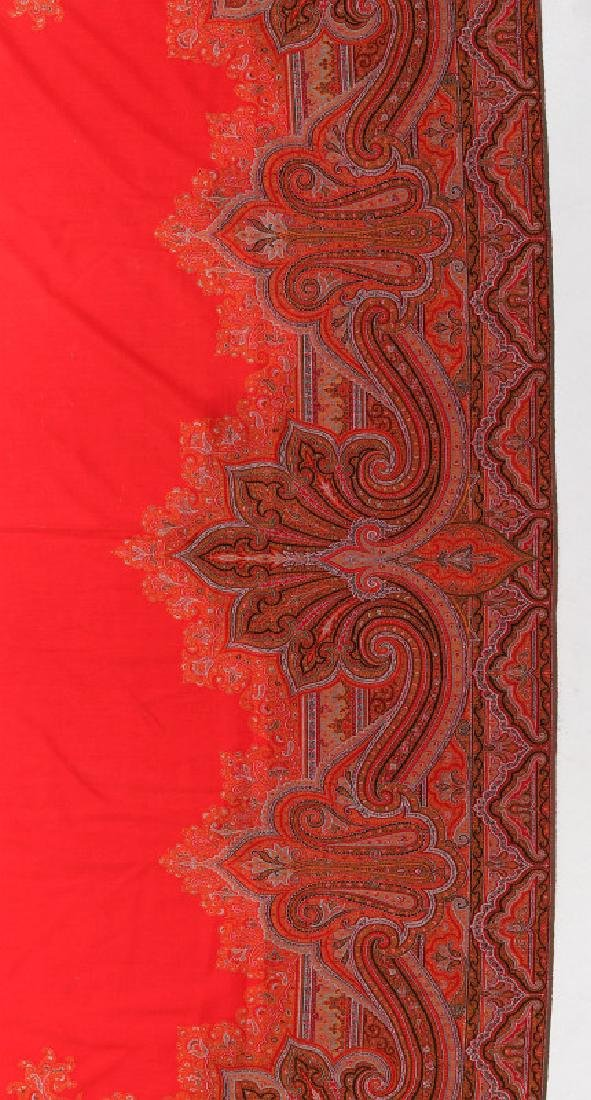 A LARGE FINE RED PAISLEY PIANO SCARF OR SHAWL - 10