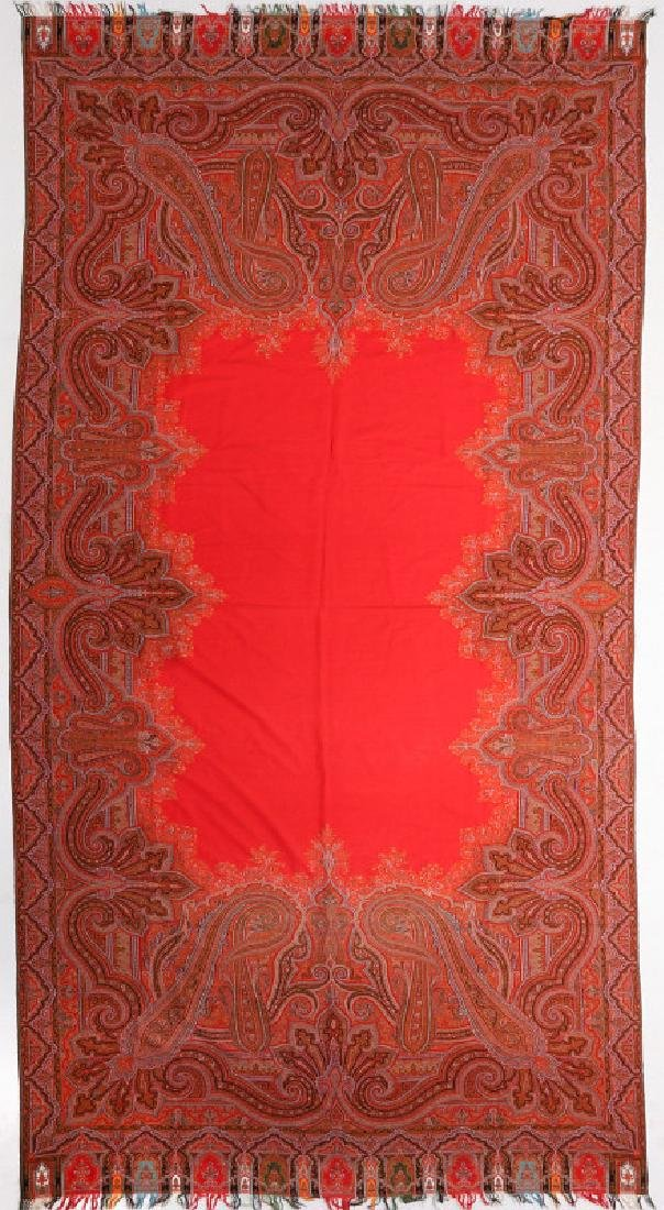 A LARGE FINE RED PAISLEY PIANO SCARF OR SHAWL - 2