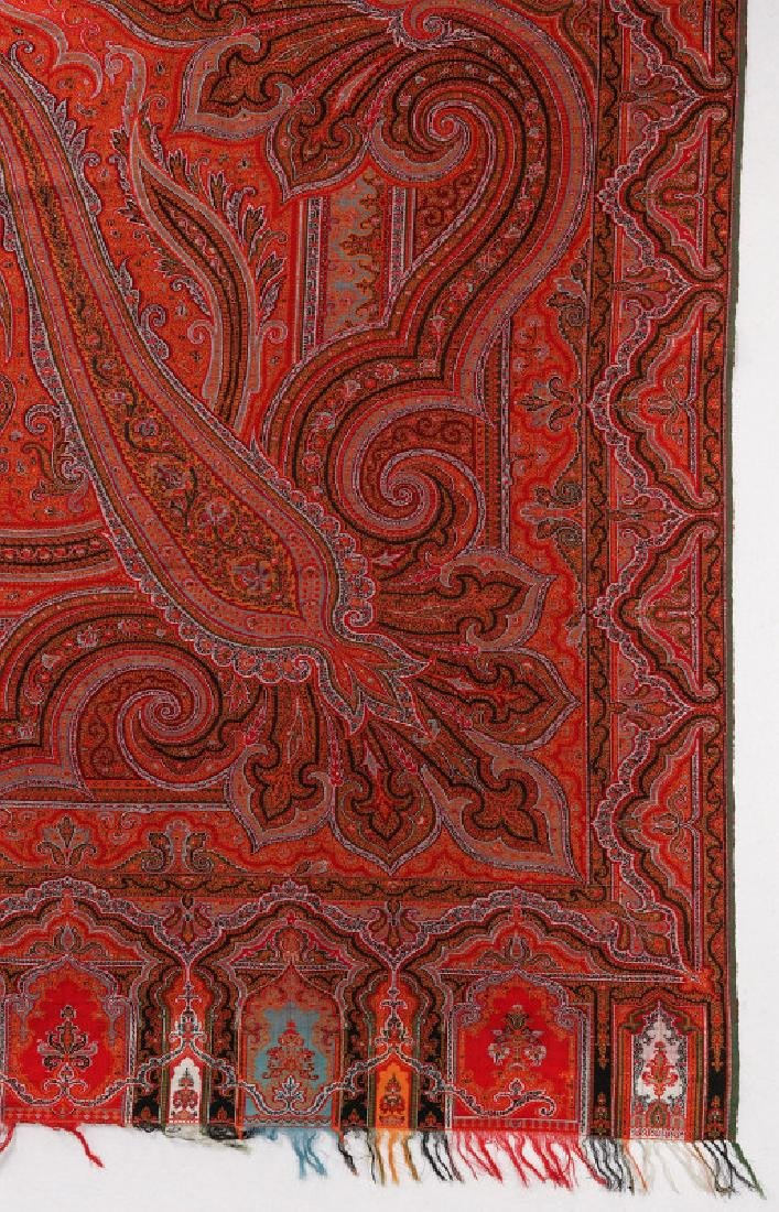 A LARGE FINE RED PAISLEY PIANO SCARF OR SHAWL - 3