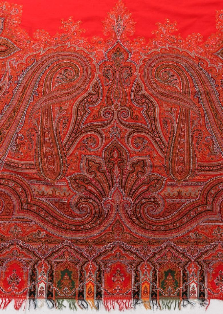 A LARGE FINE RED PAISLEY PIANO SCARF OR SHAWL - 4