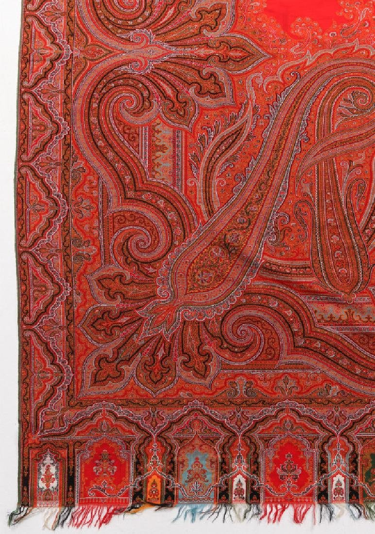 A LARGE FINE RED PAISLEY PIANO SCARF OR SHAWL - 5