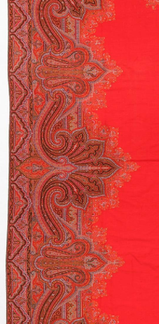 A LARGE FINE RED PAISLEY PIANO SCARF OR SHAWL - 6