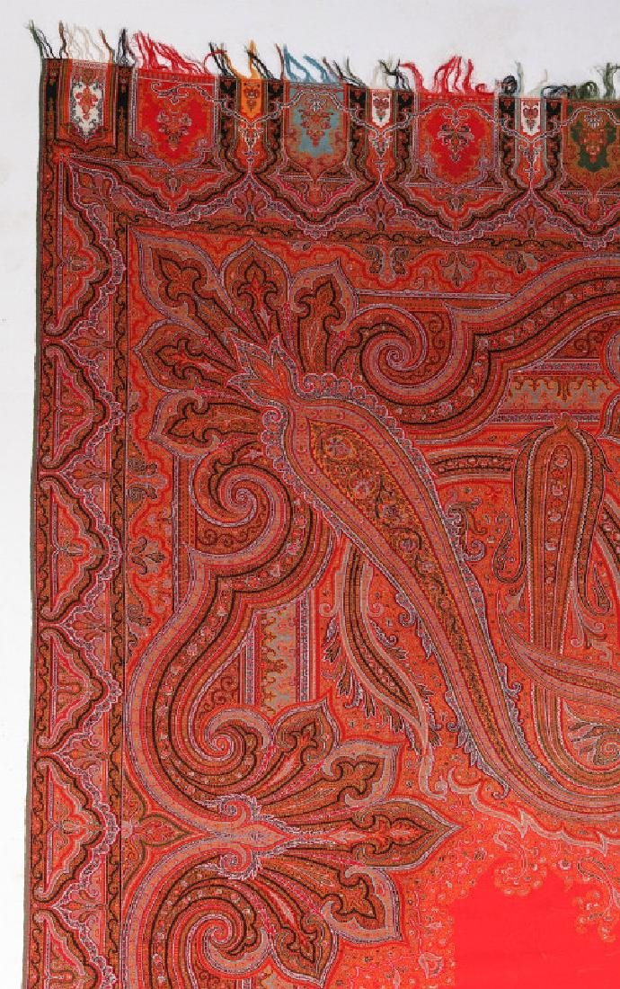 A LARGE FINE RED PAISLEY PIANO SCARF OR SHAWL - 7