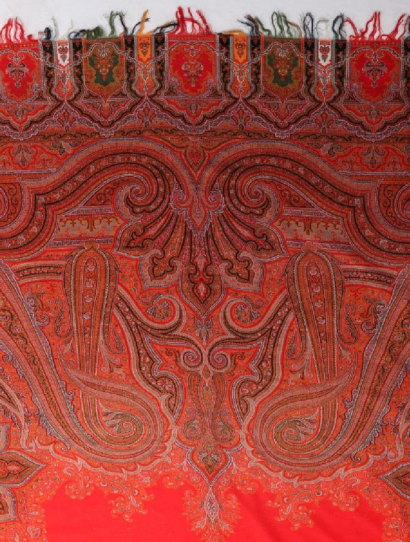 A LARGE FINE RED PAISLEY PIANO SCARF OR SHAWL - 8