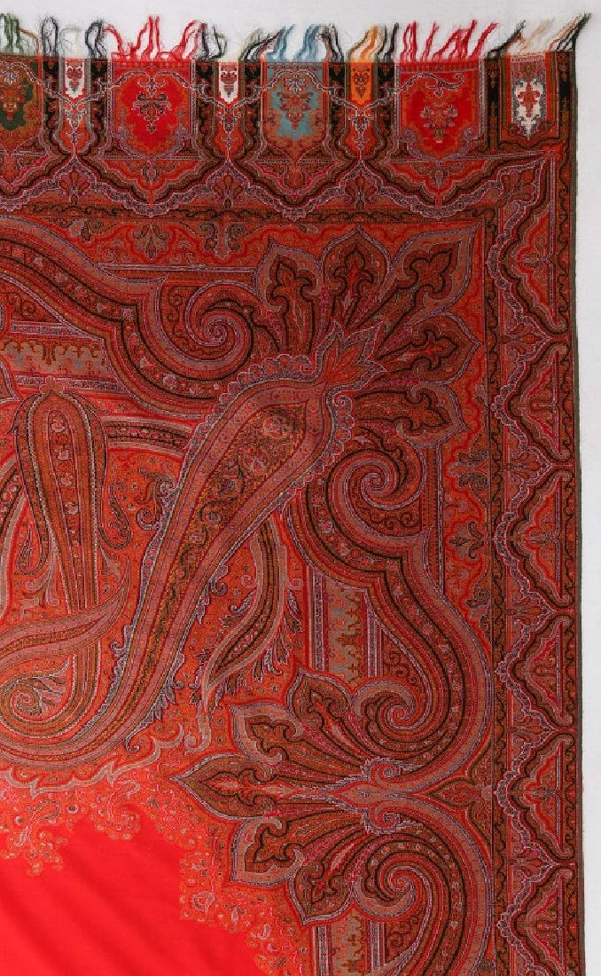 A LARGE FINE RED PAISLEY PIANO SCARF OR SHAWL - 9