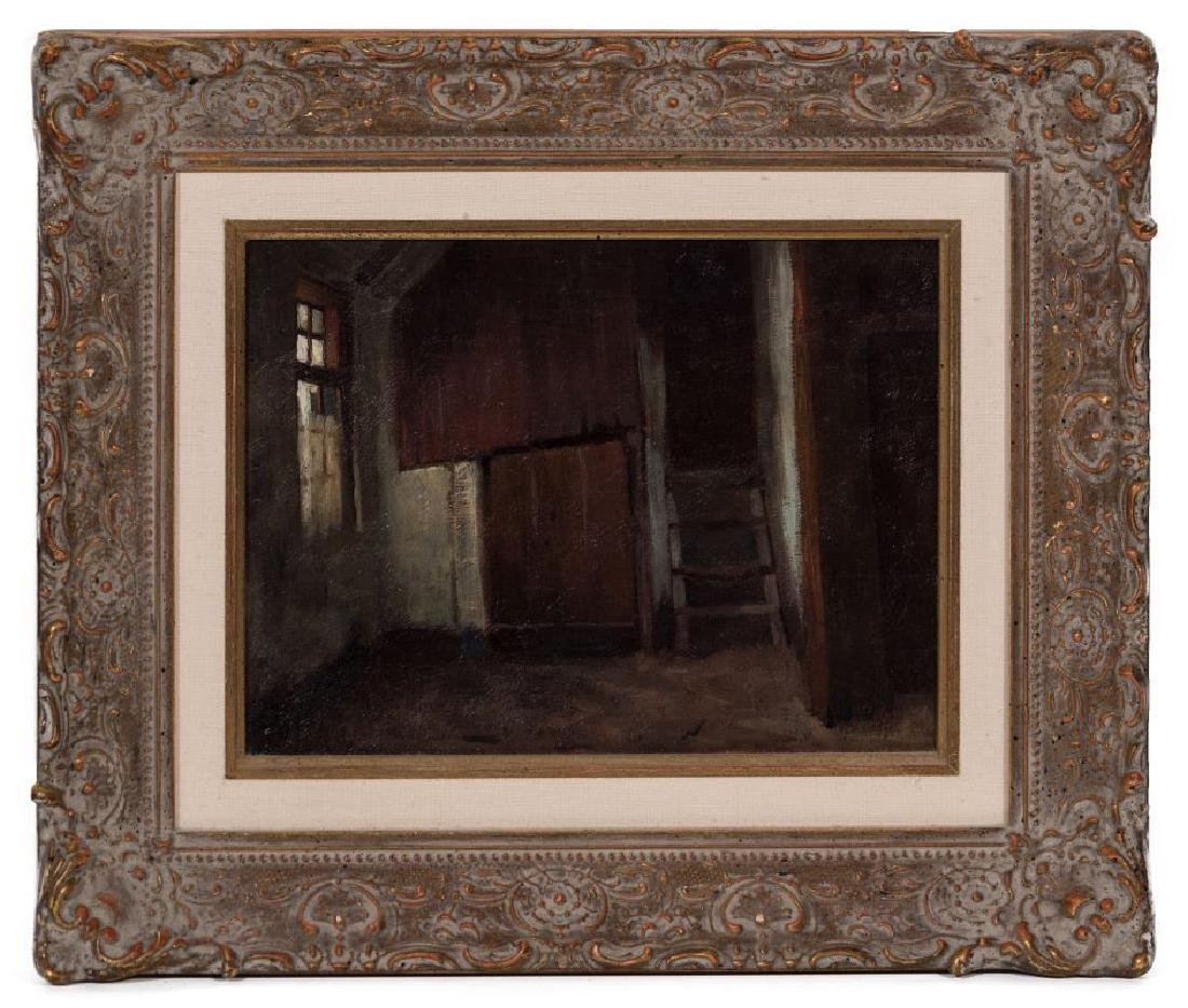 AN UNSIGNED 19TH CENT FRENCH OIL ON PANEL - 2