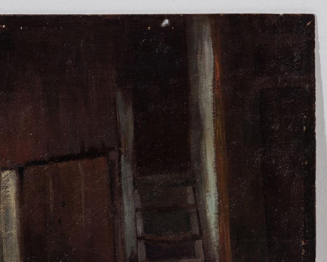 AN UNSIGNED 19TH CENT FRENCH OIL ON PANEL - 4