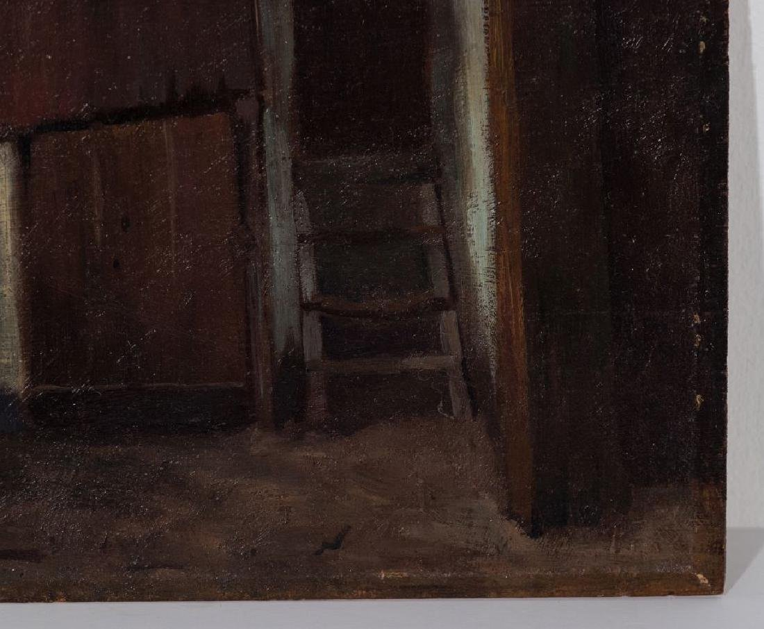 AN UNSIGNED 19TH CENT FRENCH OIL ON PANEL - 5