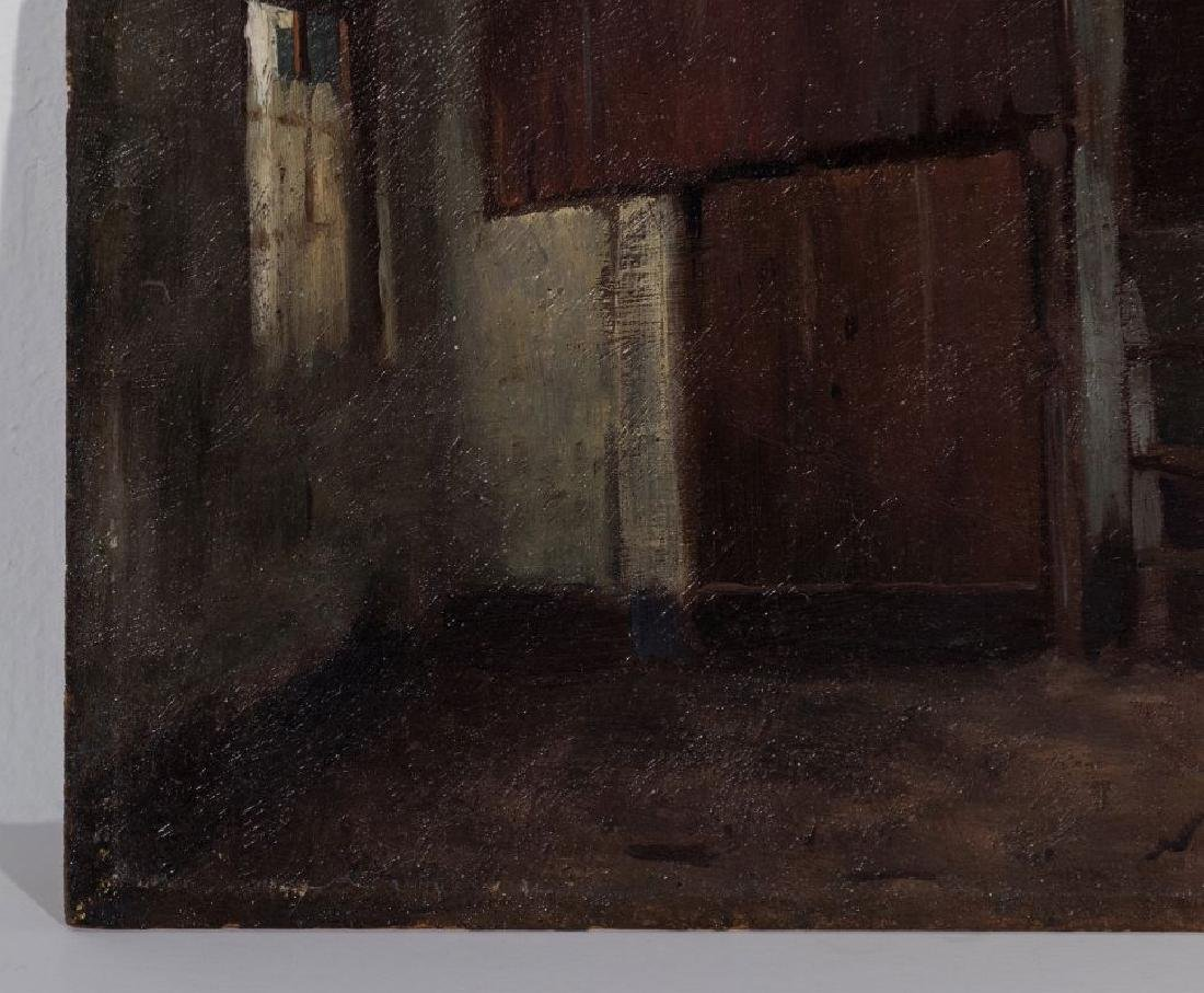 AN UNSIGNED 19TH CENT FRENCH OIL ON PANEL - 6