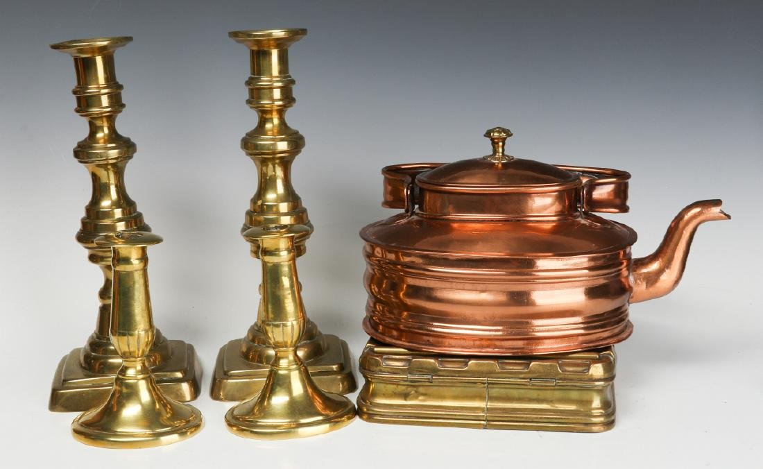A COLLECTION OF 19TH CENT COPPER AND BRASS