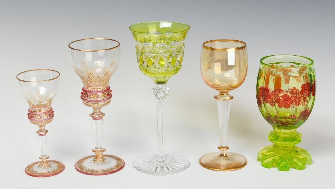 A MIXED LOT OF ANTIQUE CONTINENTAL WINE GOBLETS