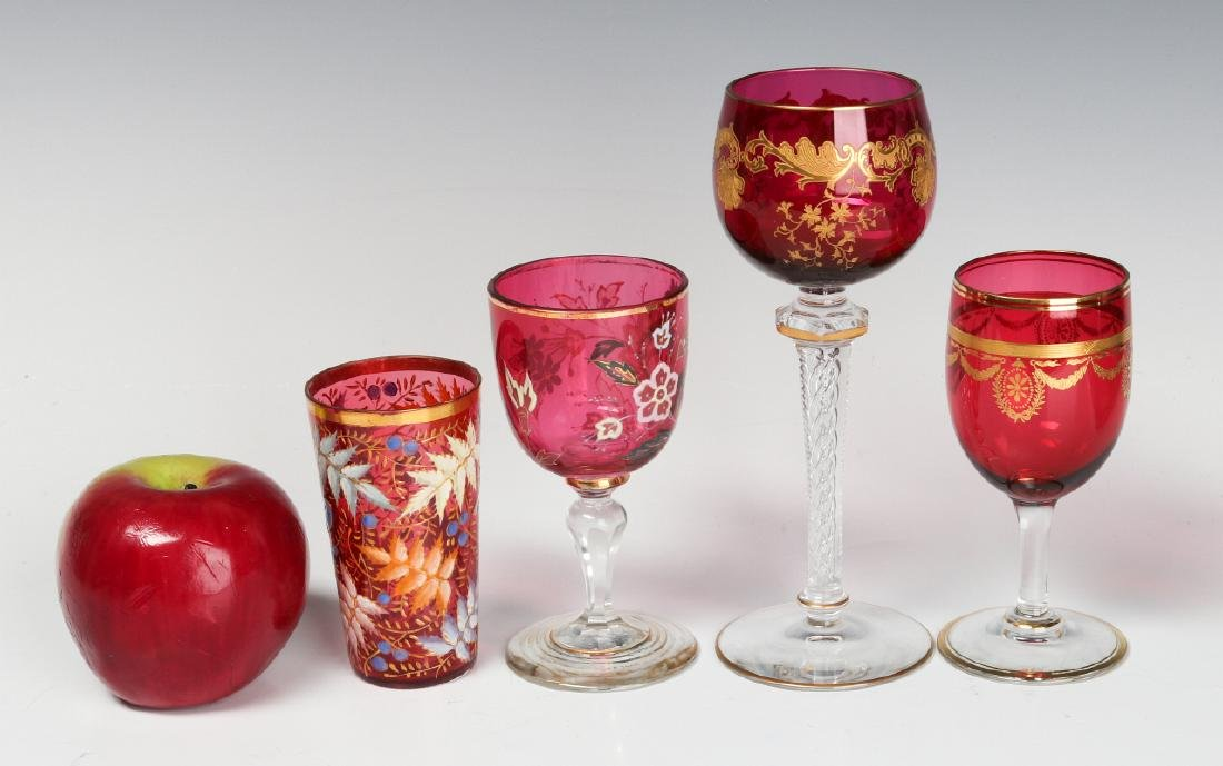 ENAMELED CRANBERRY GLASS WINES INCLUDING AIR TWIST - 2
