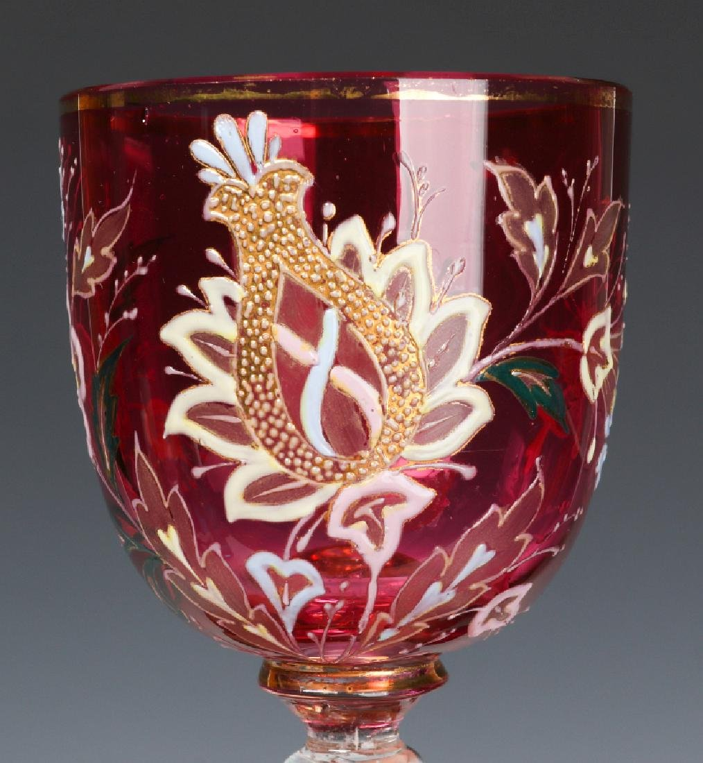 ENAMELED CRANBERRY GLASS WINES INCLUDING AIR TWIST - 5