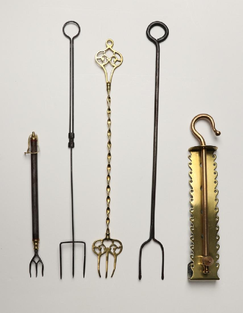 18TH AND 19TH CENTURY FIREPLACE TRAMMEL AND TOOLS