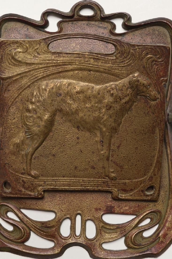 AN ART NOUVEAU INFLUENCE BILL CLIP WITH DOG C 1900 - 3