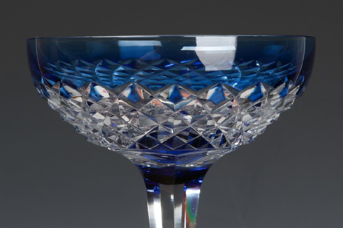 MATCHING RED TO CLEAR & BLUE TO CLEAR CUT GOBLETS - 3