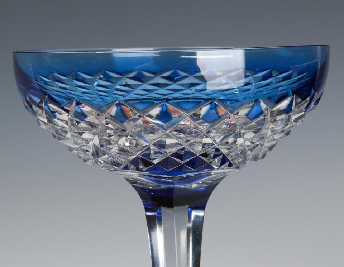 MATCHING RED TO CLEAR & BLUE TO CLEAR CUT GOBLETS - 4